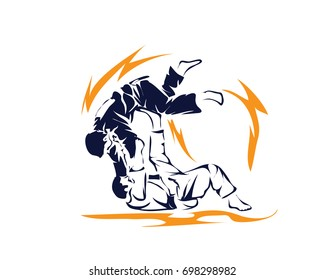 Passionate Sports Athlete In Action Logo - Deadly Lightning Judo Winning Move