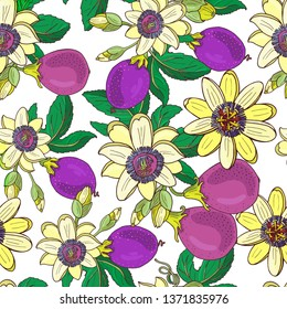 Passionflower(passiflora,passion purple fruit) on a dark  background.Floral seamless pattern.Big bright exotic Maracuja flowers,bud and leaf.Summer vector illustration for print  textile,fabric.