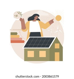 Passive house abstract concept vector illustration. Passive house standarts, heating efficiency, reducing ecological footprint, energy saving technology, sustainable home abstract metaphor.