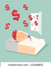 Passive income, earn money while sleeping. Flat vector illustration