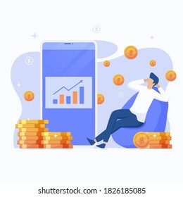 Passive income illustration concept. This design can be used for websites, landing pages, UI, mobile applications, posters, banners