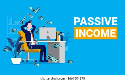 Passive income. Man relaxing in front of computer while money raining down. Financial freedom, easy money and investor concept. Vector illustration.