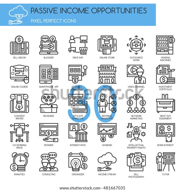 Passive Income Opportunities Thin Line Pixel Stock Vector