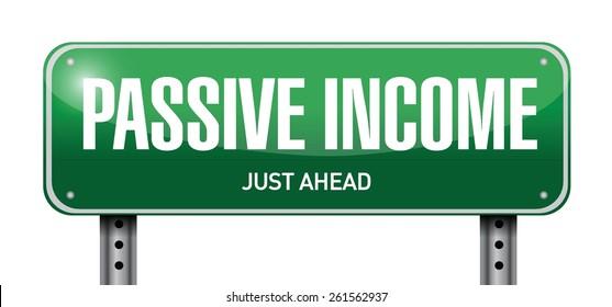 passive income street sign concept illustration design over white background