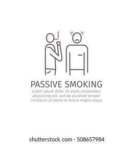 Passive smoking line icon