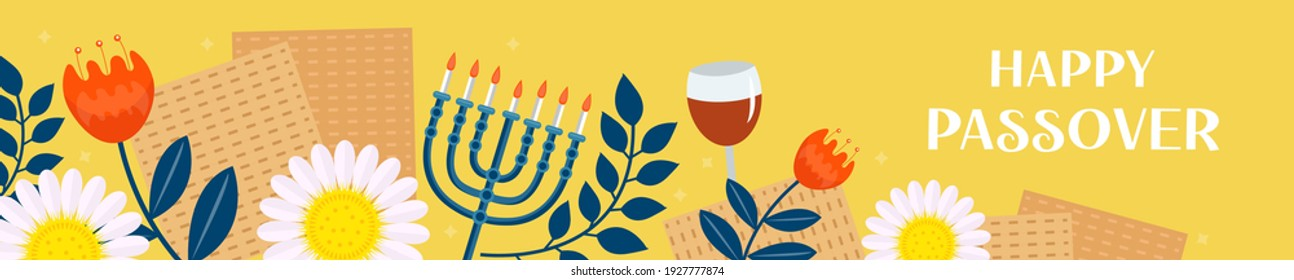 Passover banner. Pesach template for your design with matzah and spring flowers. Happy Passover inscription. Jewish holiday background. Vector illustration