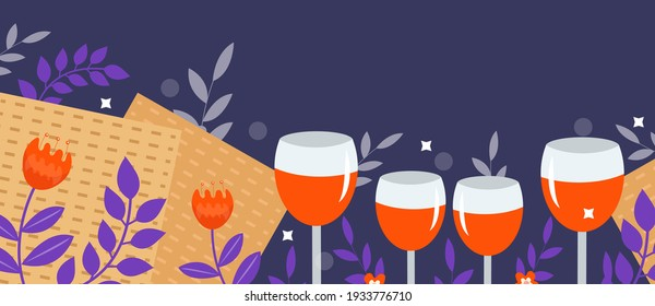Passover banner. Pesach template for your design with matzah and spring flowers. Jewish holiday background. Vector illustration
