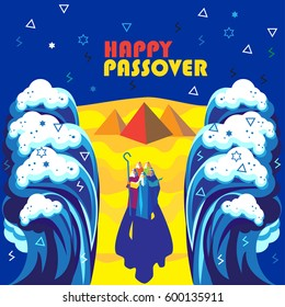 """Passover banner. Translation from Hebrew: """"Happy Passover!"""" Passover Jewish Holiday decorative poster Moses and people Sea waves sky, matza, Egyptian pyramids. Exodus Abstract background vector Israel"""