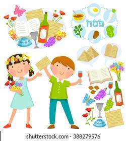 Passover cartoons set: kids and the holiday's symbols