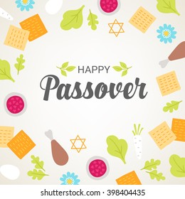 Passover greeting card with seder plate food, flowers and Jewish stars on light background. Matzo, egg, horseradish, meat, parsley. Vector illustration.