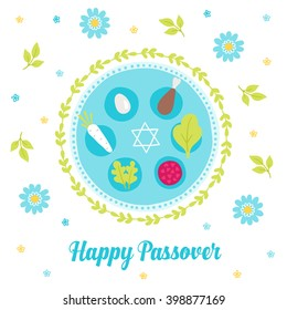Passover greeting card with seder plate, wreath, branches, Jewish star and flowers. Egg, bone, horseradish, parsley. Pesach tradition symbols. Vector illustration