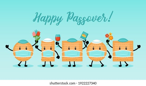 Passover holiday banner design with matzah funny cartoon characters with face medical mask