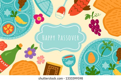 Passover holiday cute banner design with traditional seder plate, matzo and wine. Childish print for cards, invitations and stickers.