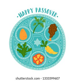 Passover holiday cute traditional seder plate. Childish print for cards, invitations and stickers.