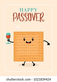Passover holiday greeting card design with cute matzo character