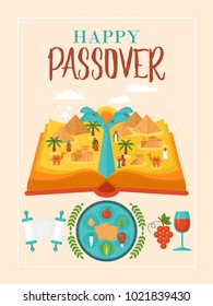 Passover holiday greeting card design with book and Egypt landscape