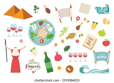 Passover icons set. flat, cartoon style. Jewish holiday of exodus Egypt. Collection with Seder plate, meal, matzah, wine, torus, pyramid. Isolated on white background. Passover Haggadah in Hebrew