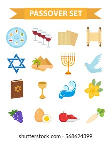 Passover icons set. flat, cartoon style. Jewish holiday of exodus Egypt. Collection with Seder plate, meal, matzah, wine, torus, pyramid. Isolated on white background. Vector illustration