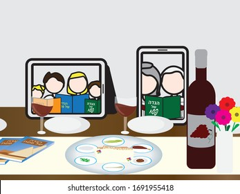 Passover Jewish Holiday Online Seder Table, Tablet and Smartphone with People Reading The Passover Haggadah On The Seder Table