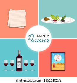 """Passover Jewish Spring holiday symbols set. Seder plate, Matzo, red wine glassess, bottle of wine traditional for Passover Seder Table. Text in Hebrew: """"Happy and kosher Passover"""", """"Passover hagadah"""""""