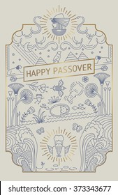 PASSOVER LINE ART CARD. Gold foil. Vector illustration file. Can use as greeting card, poster, cover, wall art, print and more...