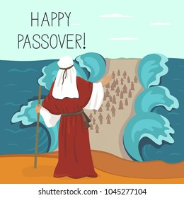 Passover, Moses leads people from Egypt across the sea. Illustration. Poster, postcard.