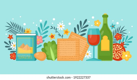 Passover Pesah holiday banner design with matzah, wine and spring flowers. Greeting card or seder party invitation template