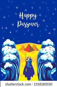 """Passover poster Translation from Hebrew: """"Happy Passover!"""" Passover seder Jewish Holiday decorative poster. Moses, people, Sea waves, sky, matza, Egyptian pyramids. Exodus Abstract Pesach Israel Moshe"""