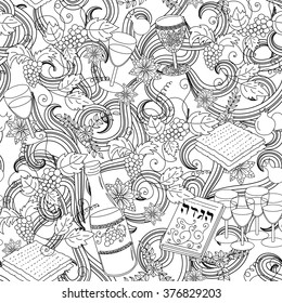 Passover seamless pattern background. Jewish holiday Passover symbols. Vector illustration
