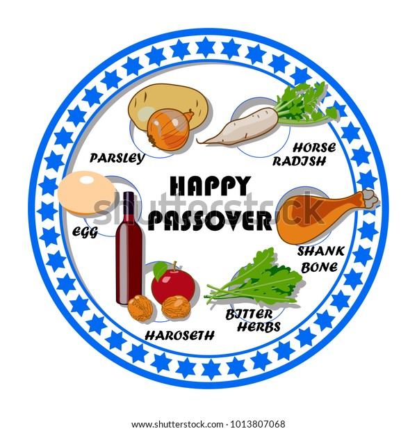 Passover Seder Plate Bright Colored Hand Stock Vector (Royalty ...