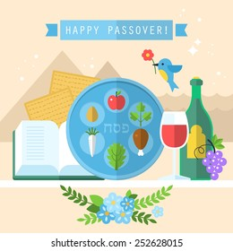 Passover seder plate with flat icons