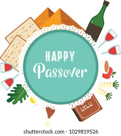 Passover seder plate with flat traditional icons over night background. greeting card design template. vector illustration