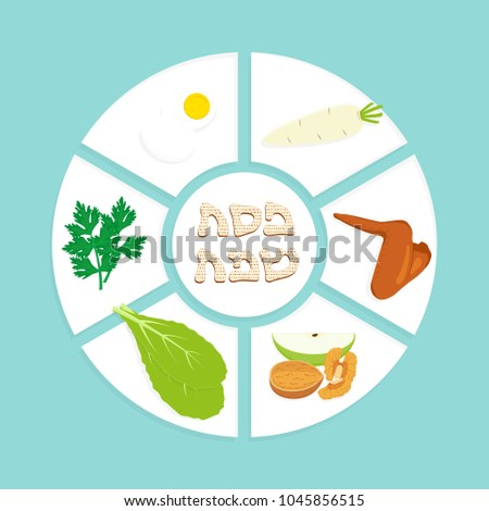 Passover seder plate holiday symbolic foods stock vector royalty passover seder plate holiday symbolic foods symbols of pesach matzah greeting inscription in m4hsunfo