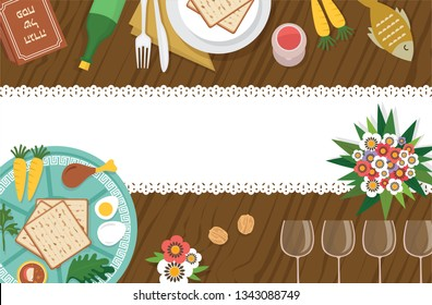 Passover Seder table with Seder plate and other elemnts-Vector Illustration