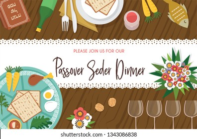 Passover Seder table with Seder plate-Vector Illustration