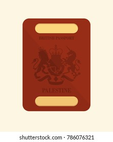 Passpor of British Mandate of Palestine. Vintage graphic visual. Vector design eps 8.