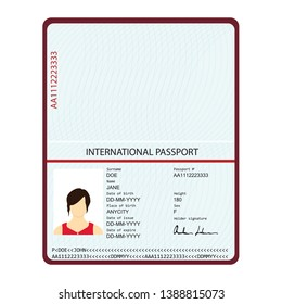 Passport with biometric data. Identification Document.  international passport template with sample personal data page