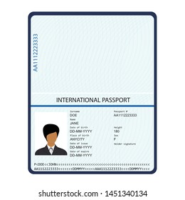 Passport with biometric data. Identification Document.  international passport template with sample personal data page