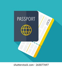 Passport and boarding pass ticket icon. Flat design. Vector illustration