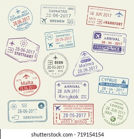 Passport city names stamp set. Edinburgh, Stuttgart and Leipzig in Germany, Bern, Helsinki or Cyprus and Bangkok in Thailand, Malta or Copenhagen and Nice. Travel country arrival vector icons.