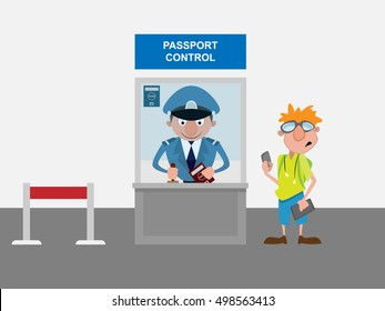 Passport control cartoon characters