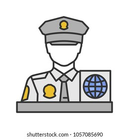 Immigration Officer Booth Checking Documents Editable ...