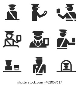 passport control officer vector icons. Simple illustration set of 9 passport control officer elements, editable icons, can be used in logo, UI and web design