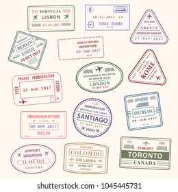 Passport country stamps vector set of Lisbon Portugal, Athens Greece or London Britain and Toronto Canada. Isolated passport ink stamp of Santiago, Colombo in Sri Lanka and Delhi India travel
