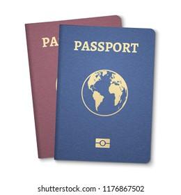 Passport document ID. International pass for tourism travel. Emigration passport citizen ID with globe.