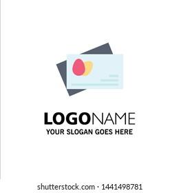 Passport, Egg, Easter Business Logo Template. Flat Color