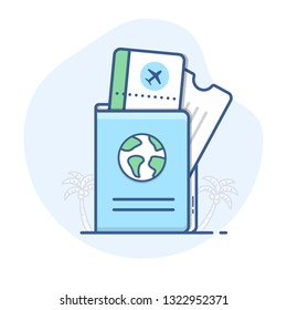 Passport with flight tickets line icon. Travel document with boarding pass outline illustration.