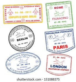 Passport grunge stamps from Athens, Rome, Paris, Berlin, London and Madrid, vector illustration