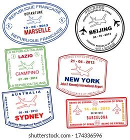 Passport grunge stamps from Marseille, Beijing, Lazio, New york, Sydney and Barcelona, vector illustration