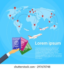 Passport Hand Travel Document Vacation Trip Booking Air Plane Flight World Map Flat Vector Illustration
